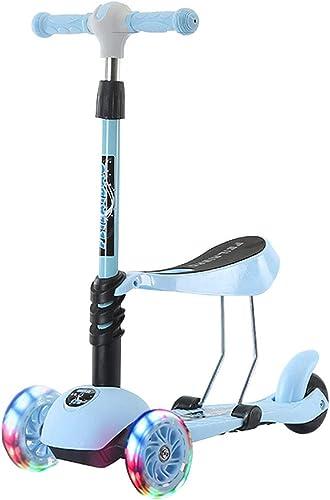 Scooter 3 Coup de Pied Ajustable en Hauteur T-Bar Trougetinettes pour Tout-Petits et Enfants Trougetinette Roulant Roues lumière Up avec Couleurés pour Les Enfants LEDs de 2 à 6 Ans d'age