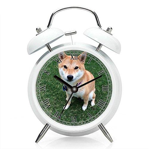 Mesita de noche reloj despertador con luz de fondo, funciona con pilas, reloj despertador redondo doble campana (patrón individual) 211. japonés Shiba Inu Dog Spitz razas Doge Meme