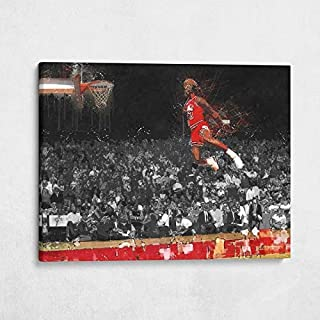 Gallery Farm | Michael Jordan Free Throw Dunk Oil Style Pop Art | 1.5 Inch Thick Gallery Canvas Print, Wall Art (40x30)