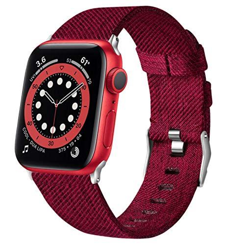 Para Apple Watch Band Series 5 6 Se 44mm 40mm Correa Para Iwatch 4 3 2 42mm 38mm Pulsera de tela suave tejida Hombres Mujeres Correas de reloj-rojo, serie 123 38mm