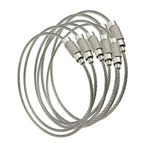 10 Unids Cable De Alambre De Acero Inoxidable Cuerda Cuerda Llavero Llavero Llavero Anillos Mujeres Hombres Joyería Llavero Titular Regalos (Color : Silver)