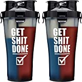 Hydra Cup - 36oz High Performance Dual Shaker Bottle, Patented PRE + Protein Shaker Cup, Leak Proof, Awesome Colors, Save Time & Be Prepared. (36oz, Get Shit Done)