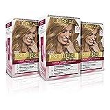 L´ORÉAL PARIS Pack 3x Excellence Creme Tinte Permanente Triple Cuidado 100% Cobertura Canas Tono 7.3 Rubio Dorado