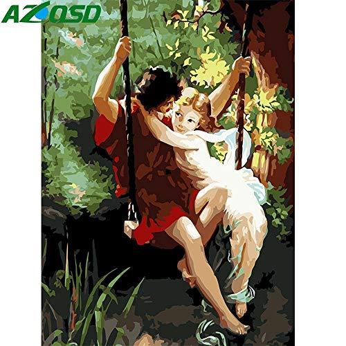 JXGG Pintura al óleo decoración del hogar Pintura Pintura Digital Chica Columpio Lienzo Cuadro Pintado a Mano 40x50cm Sin Marco