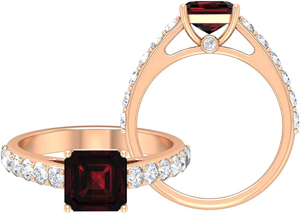 4 CT Garnet Engagement Ring with Moissanite Accent, Solitaire Ring with Side Stones (7 MM Asscher Cut Garnet), 14K Gold