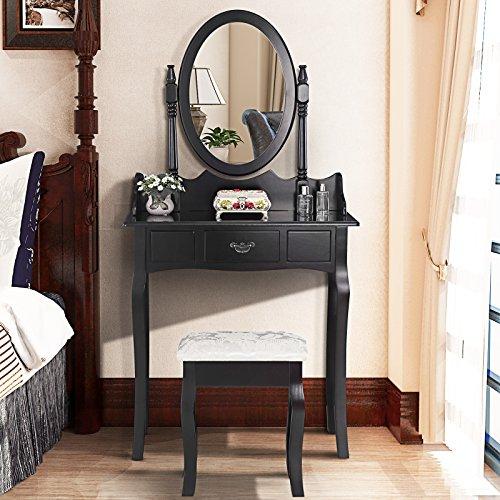 mecor Modern Coiffeuse Table de Maquillage en MDF avec Tiroir,Miroir Ovale et Tabouret Noir