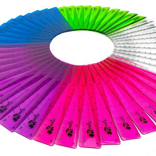 Monster Stationery Lineal, 15 cm, durchsichtige farbige Lineale, bruchfest, 50 Stück, gemischt Einzeln 6-Inch verschiedene farben