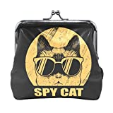 AJINGA Spy Cat Eyeglasses Coin Purse Pumpkin Leather Coin Wallet Snap Closure Clutch Bag
