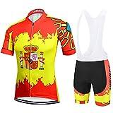 SUHINFE Traje Ciclismo Hombre para Verano, Ciclismo Maillot y Culotte Ciclismo Culote Bicicleta con 9D Gel Pad para Deportes al Aire Libre Ciclo Bicicleta, Bandera de España, L