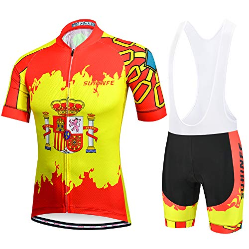 SUHINFE Traje Ciclismo Hombre para Verano, Ciclismo Maillot y Culotte Ciclismo Culote...