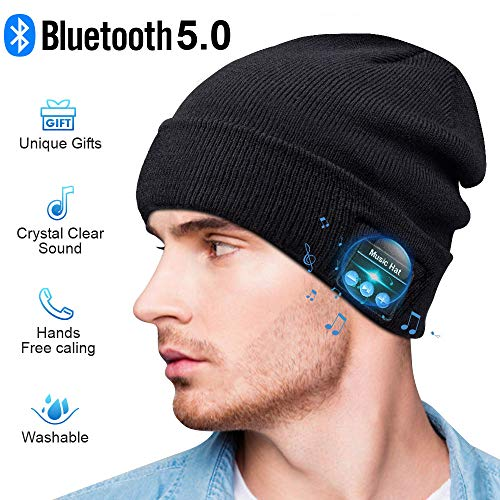 HIGHEVER Bluetooth Beanie,Bluetooth 5.0 Beanie hat with Detachable Built-in Mic and HD Stereo Speakers for Music Lover Unique Unisex Gifts for Men/Women/Teens/Boys/Girls (Black)