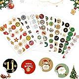 Sunshine smile Aufkleber Weihnachten Adventskalender 9 x 24 Sticker,Advent Calendar Numbers Stickers,Adventskalender Zahlen,zum Basteln und Dekorieren,Nummern Aufkleber,Geschenkaufkleber Weihnachten