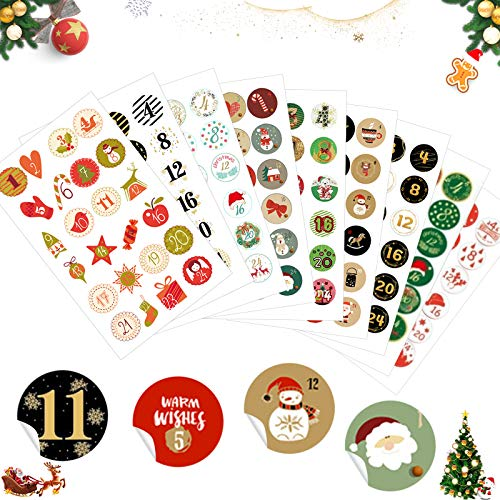 Sunshine smile Aufkleber Weihnachten Adventskalender 9 x 24 Sticker,Advent Calendar Numbers Stickers,Adventskalender Zahlen,zum Basteln und Dekorieren,Nummern Aufkleber,Geschenkaufkleber Weihnachten