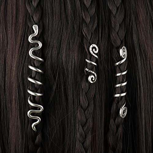 Nicey Granos de Encanto Espiral Vikingo para Trenzas para el Cabello para Barba Perlas de Pelo joyería Vintage Mujeres niña Horquilla Pintura de Pelo accesorios-15