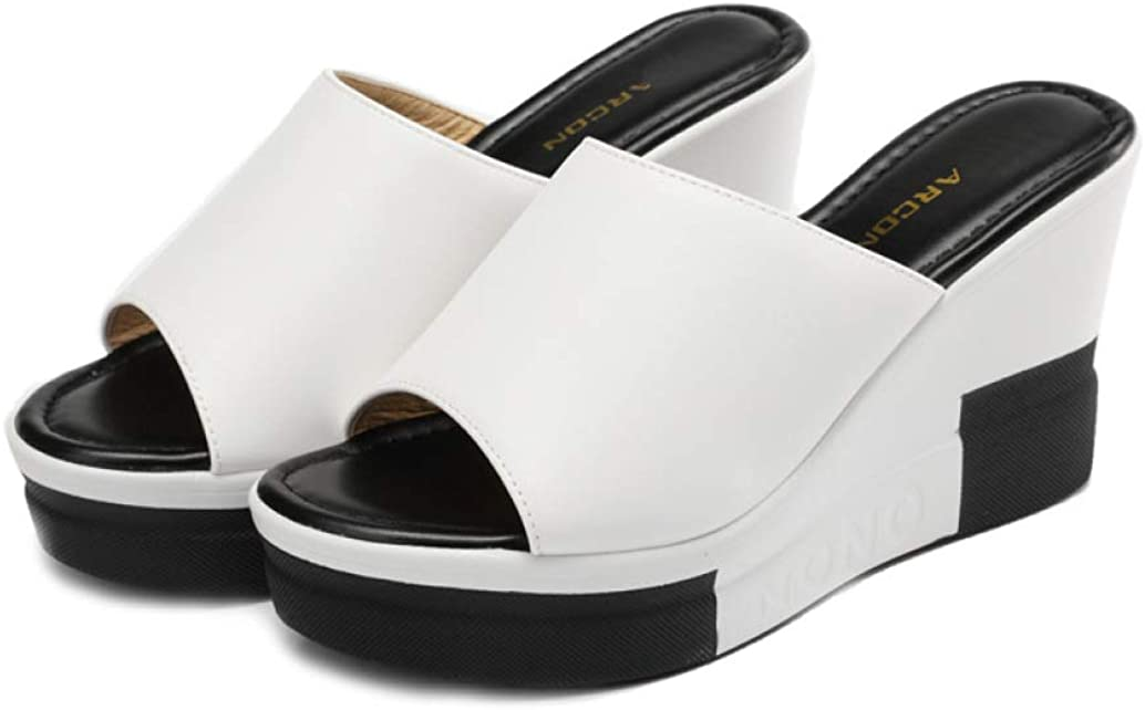 CYBLING Women's Peep Toe Slip On Wedge Platform Sandals High Heeled Flip Flops Summer Slide Slippers