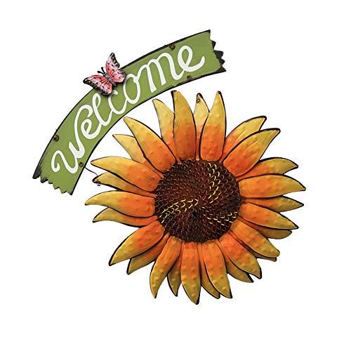 SunshineFace Cartel colgante de girasol de bienvenida estilo vintage, decoración de porche para jardín al aire libre, patio, porche, césped, puerta delantera