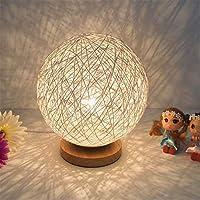 籐ボール常夜灯テーブルベッドサイドランプ寝室の家の装飾スタンドライト 床置き研究に適しています (Size:12 X 23cm; Color:3)