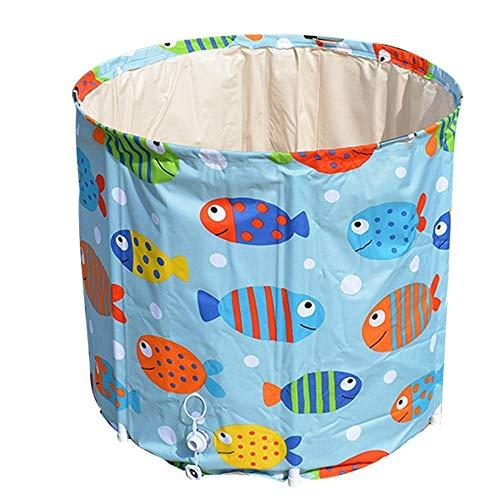 Folding Bad Eimer Fisch-Muster faltbare Badebottich for Erwachsene beweglicher Badewanne leicht zu verstauen Large Size zusammenklappbarer Bucket (Farbe: Blau, Größe: 65x70cm) (Farbe: Blau, Größe: 65x