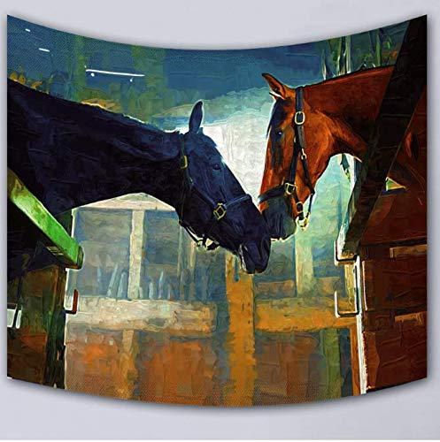 Tapisserie murale Rectangle Suspendu Tapis Cheval Motif Hd Imprimer Supersoft Lait Fibres De Lait Tapisserie Mur Couverture 150 * 200 Cm
