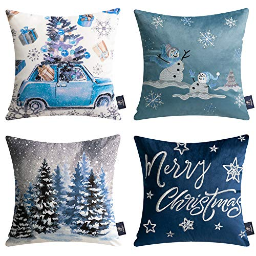 Phantoscope Set of 4 Merry Christmas Decorative Print and Embroidery Velvet Throw Pillow Covers Snowman, Star, Snowflake, Tree Cushion Cover, Blue, 18 x 18 inches, 45 x 45 cm
