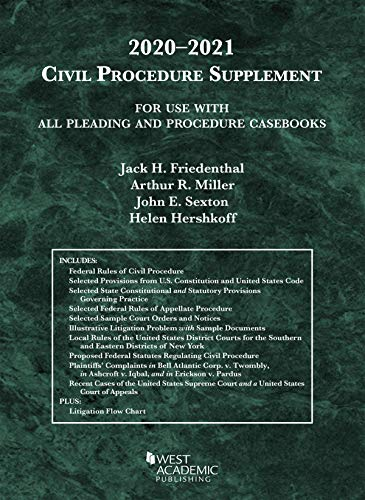 Compare Textbook Prices for Civil Procedure Supplement, for Use with All Pleading and Procedure Casebooks, 2020-2021 American Casebook Series 2020 Edition ISBN 9781684679706 by Friedenthal, Jack H.,Miller, Arthur R.,Sexton, John E.,Hershkoff, Helen