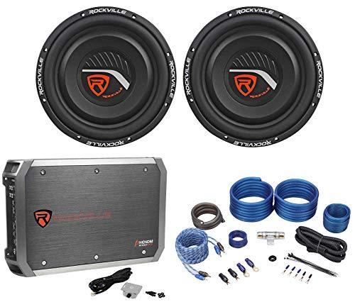 "2) Rockville W12T4S2 12"" Shallow Mount 1400w Car Subwoofers+Mono Amplifier+Wires"