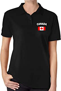 Canada Flag Women's Classic Golf Shirts Short Sleeve Polo Shirt