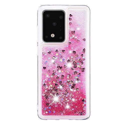Galaxy S11 Plus Housse Paillettes Rose, Fluide Flottant Liquide Sables Mouvant Glitter Liquide Paillette Protection Coque Antichoc Silicone Souple Brillante Étui Compatible avec Samsung S11 Plus