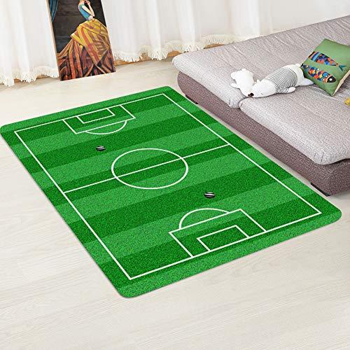 Gigicloud Mini Alfombra de área Antideslizante con diseño de Campo de fútbol para Sala de Estar en casa Campo de Futbol 1 80cmX120cm