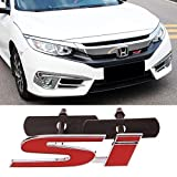 1X 3D Red Si Badge Front Grill Grille Metal Emblem For Honda Civic