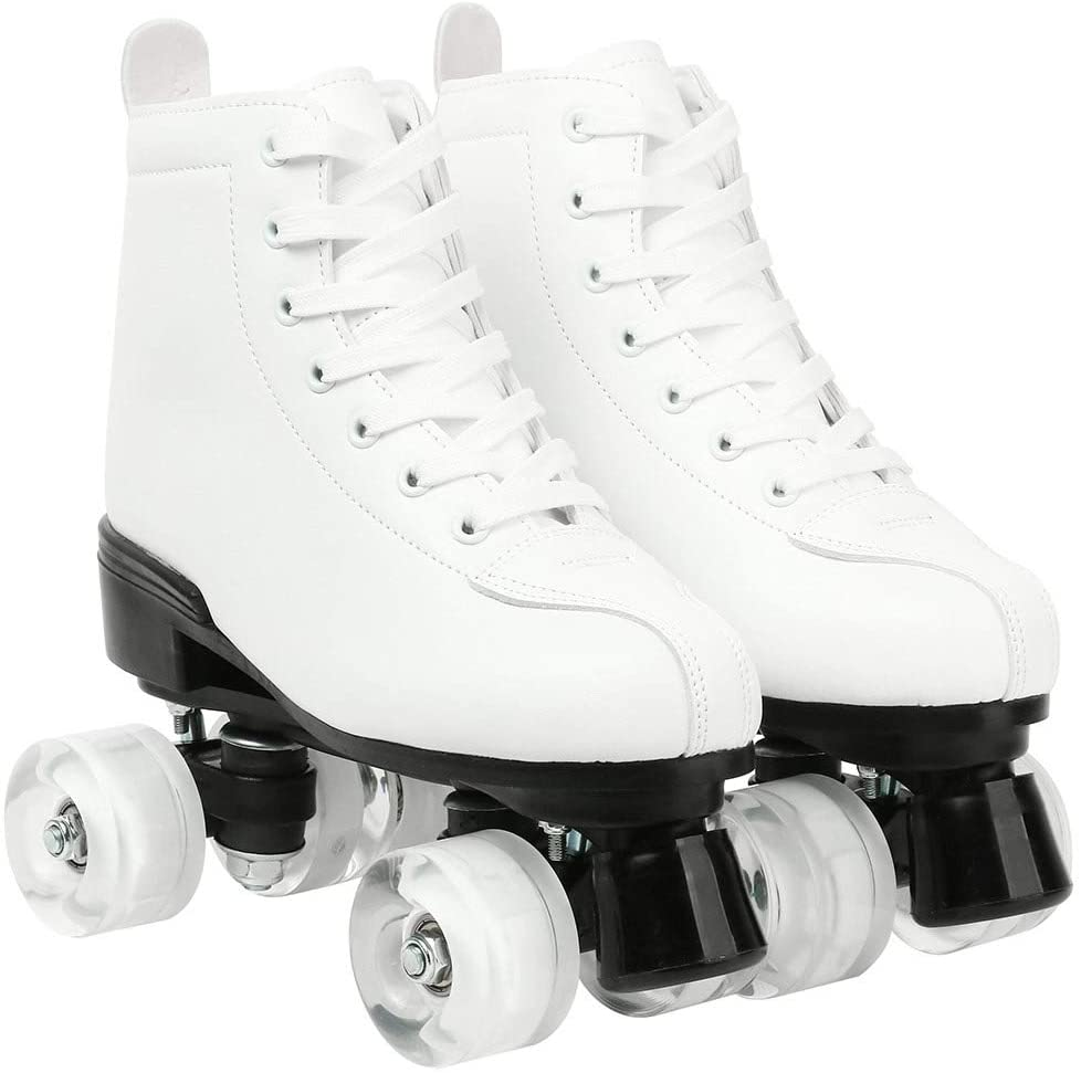 XUDREZ Womens Roller Skates,Double Row Skates Adjustable Leather High-top Roller Skates Perfect Indoor Outdoor Adult Roller Skates