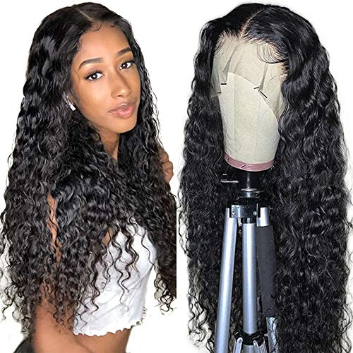 Curly Lace Front Wigs Human Hair Wigs For Black Women T Part Transparent Lace Front Wigs Human Hair Glueless Water Wave Lace Front Wigs Human Hair Pre Plucked with Baby Hair (24 inch,Natural Color)