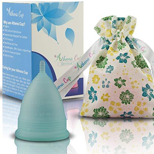 Athena Copa Menstrual – La copa menstrual más recomendada - Incluye una bolsa de regalo - Talla 2, Azul transparente - ¡Ausencia de pérdidas garantizada!