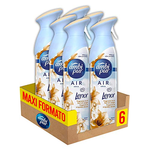 Ambi Pur Profumatore per Ambienti Spray Air Effects Lenor Oro&Fiori, Maxi Formato 6 X 300ml
