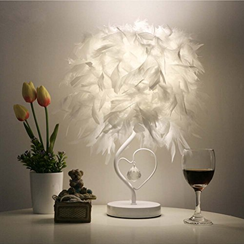 Surpars House Heart Shape White Feather Deco Table Lamp Crystal Bedside Table...