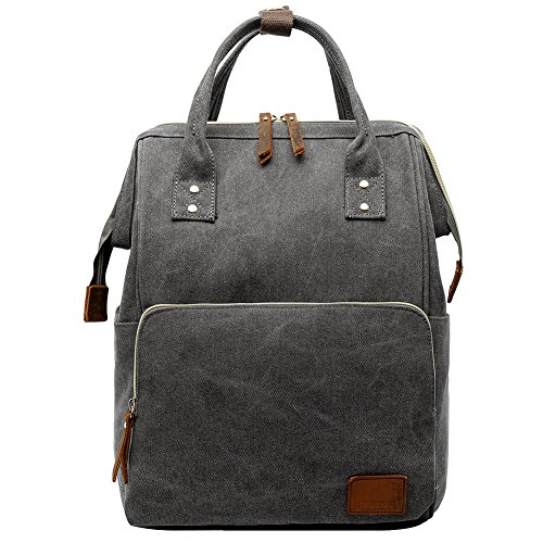 Berchirly Gray Canvas Mommy Bags Backpack Travel Bookbag Leather Laptop College Schoolbag