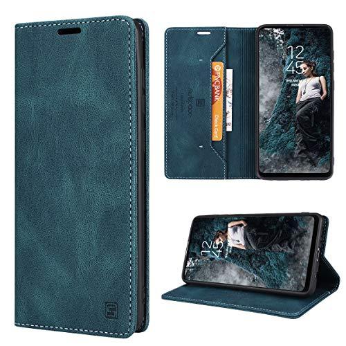 GANKER Handyhülle für Samsung Galaxy A21S Hülle Premium Leder [RFID Schutz] Flip Hülle Magnetisch Klapphülle Lederhülle TPU Bumper Schutzhülle für Samsung Galaxy A21S Hülle - Blaugrün