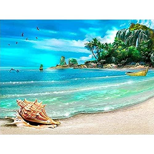 DIY 5D diamante pintura puesta de sol playa paisaje marino punto de cruz mosaico círculo completo diamante pintor decoración del hogar regalo A4 50x70cm