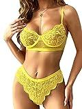 Kaei&Shi Sexy Lingerie for Women,Two Piece Lace Lingerie Set,Underwire Bra and Panty Set Boudoir Yellow Medium