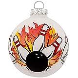 On Holiday Bowling Pin Flames Glass Bulb Christmas Tree Ornament