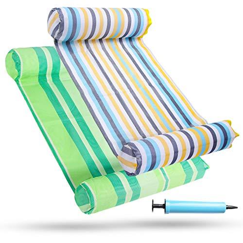 FindUWill 2-Pack Premium Swimming Pool Float Hammock, Multi-Purpose Inflatable Hammock (Saddle, Lounge Chair, Hammock, Drifter), Water Hammock Lounge (Colorful & Green)