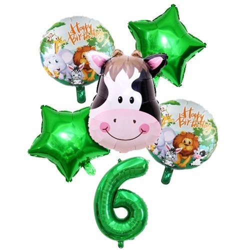 WEIZI 6 unidades de decoración para fiestas de cumpleaños infantiles, diseño de animales de la jungla, safari, temática de tigre, león, vaca, mono, cebra, jirafa, color amarillo claro