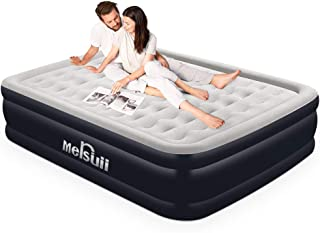 Mersuii Air Mattress Queen Size Portable Inflatable Airbed with Built-in Pump Durable Air Mattress Full Storage Bag Included Classic Stripe Flocked Surface(78x60x20 inch)