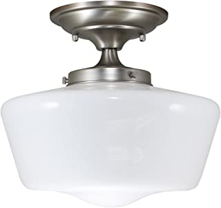 URBAN 33 F21616-53 Semi-Flush Opal Glass Schoolhouse Fixture, Satin Nickel Finish
