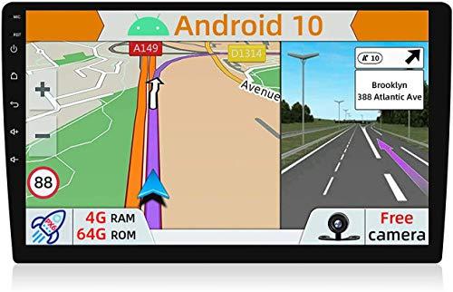 YUNTX Android 10 Universal Autoradio - 4G64G - GPS 1 Din - Telecamera Posteriore Gratuiti - 10.1 Pollice - Supporto DAB + / Controllo del volante / 4G / WiFi/Bluetooth/Mirrorlink/Carplay/USB