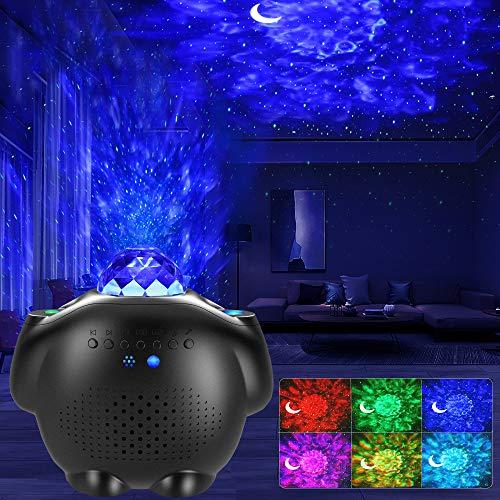 Sternenhimmel Projektor, LED Projektor Lampe Kinder mit Fernbedienung/Starry Stern/Mond/Wasserwellen/Bluetooth Lautsprecher/Timer Nachtlichter Baby Galaxy Light Perfekt für Party Weihnachten Halloween