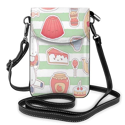 Women Small Cell Phone Purse Crossbody,Various Desserts In Cartoon Style Funny On...