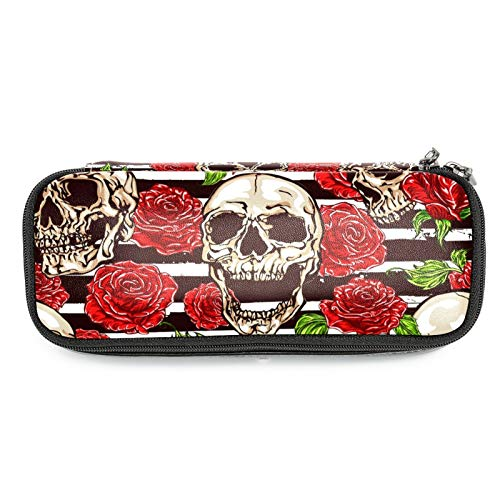 Sugar Skull Rose Pattern Stripes Pencil Case Leather Pen Bag Durable School Student Pen Holder Organizer Stationary Pouch for Teen Girls Boys