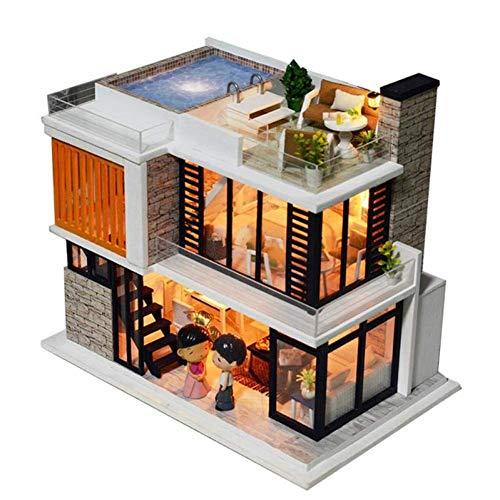 BANNAB Modelo Decoración Casa de Madera DIY Casa de muñecas ensamblada Hecha a Mano Modelo de cabaña Juguete Infantil Regalo 3D Mini casa de muñecas de Madera Juguetes de Regalo Hechos a Mano