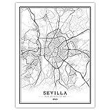 Leinwanddrucke,Einfache Sevilla Schwarz Weiß Welt